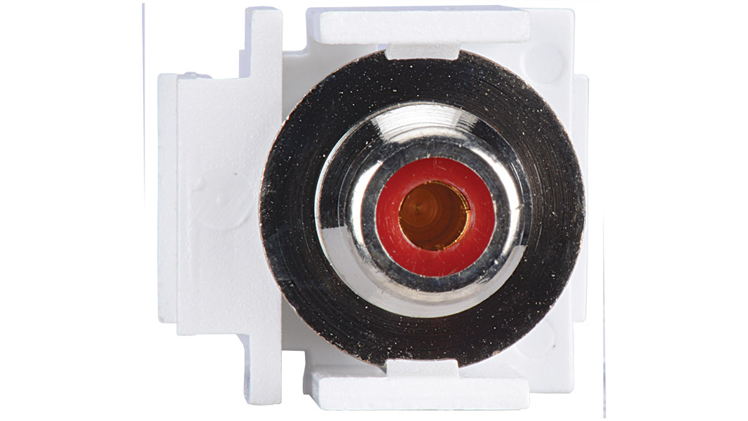 Keystone compatible  RCA connector pass through inserts green in white