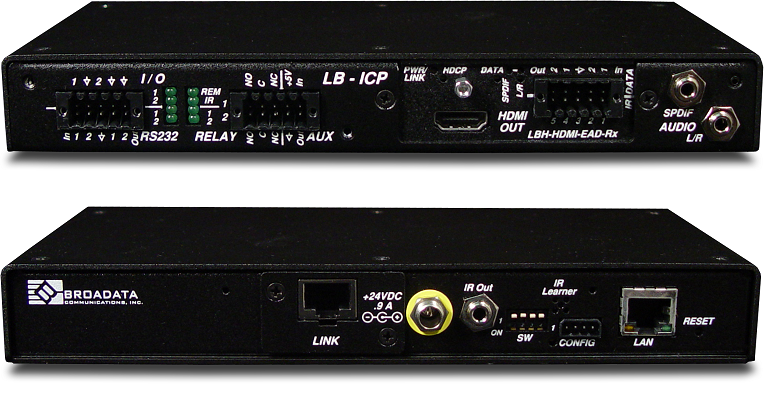 LBH-H-EAD-R-ICP - Link Bridge HDMI Video Receiver with Embedded Audio and Data, HDBT, Inline Control Ports