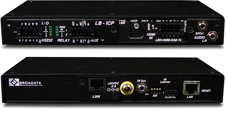 LBH-H-EAD-T-ICP - Link Bridge HDMI Video Transmitter with Embedded Audio and Data, HDBT, Inline Control Ports